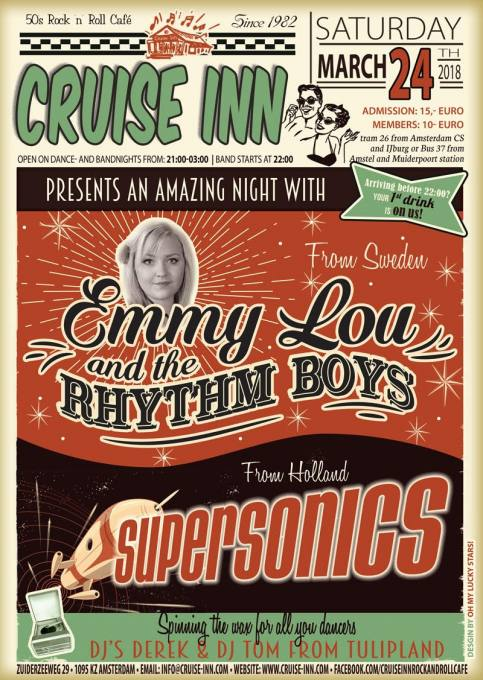 Rock n roll bandnight - with Emmy Lou and The Rhythm Boys and  Supersonics, Cruise Inn - Amsterdam