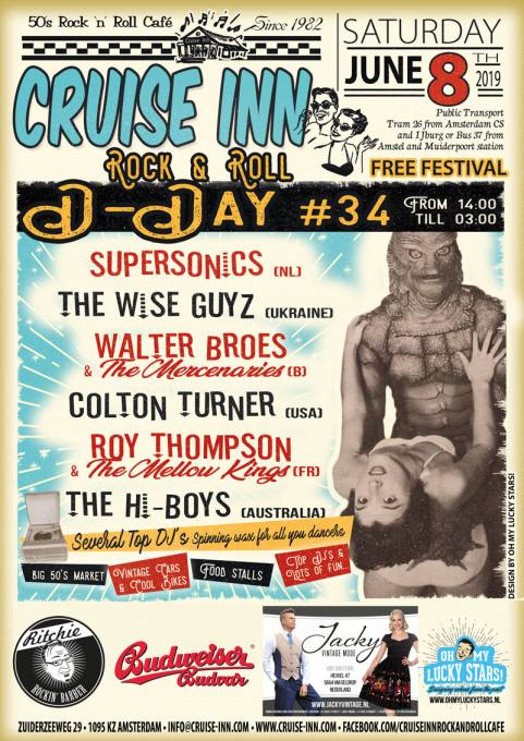 Rock n roll festival:  D-Day #34, Cruise Inn - Amsterdam June 8th  2019